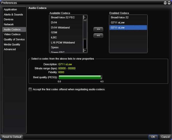 X-Lite4.0 音声コーデック選択画面